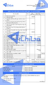 Bảng giá ship hàng Nhật về Hà Nội